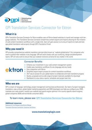 GPI Ektron Connector Brief