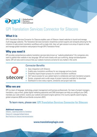 GPI Sitecore Connector Brief
