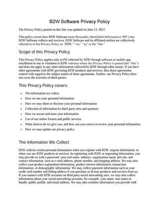 B2W Software Privacy Policy - june 13 2017