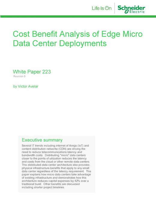 WP 223 - Cost Benefit Analysis of Edge Micro Data Center Deployments