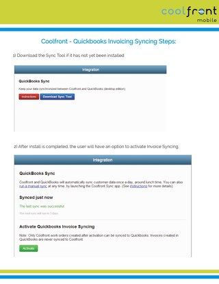 Coolfront and QuickBooks Invoice Sync