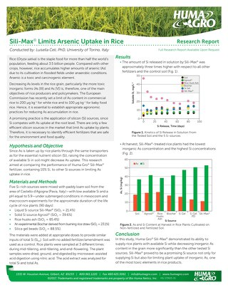 Sili-Max Limits Arsenic Uptake in Rice, Research Report (HG)