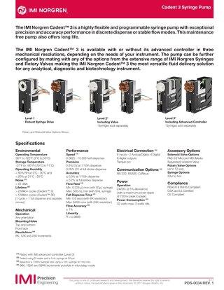 Cadent 3 Pump Datasheet