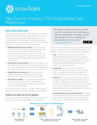 Fast Track to Analytics: Cloud-Native Data warehouse