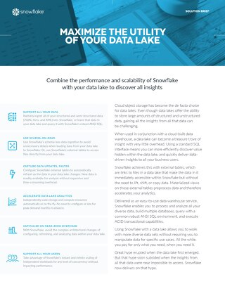 Snowflake Cloud Data Warehouse for Data Lakes