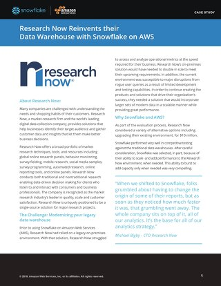 Research Now reinvents their data warehouse with Snowflake on AWS