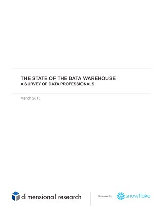 The State of the Data Warehouse