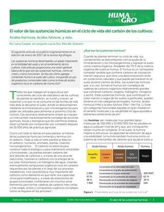 El valor de las sustancias húmicas en el ciclo de vida del carbón de los cultivos