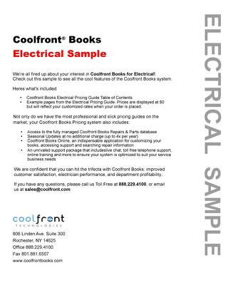 Coolfront Books Electrical Sample