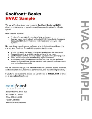 Coolfront Books HVAC Sample