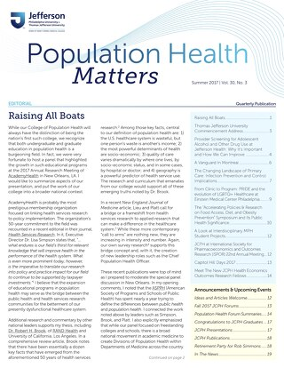 Population Health Matters Summer 2017