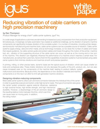 White Paper: Reducing vibration of cable carriers