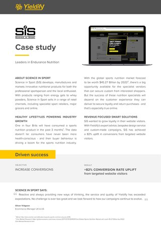Yieldify case study - Science in Sport