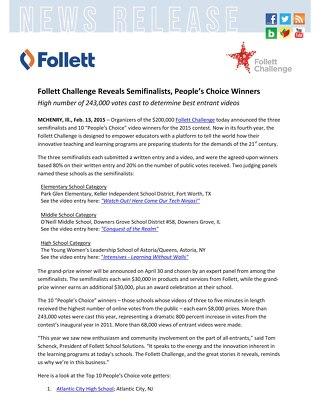 News Release: Follett Challenge Reveals Semifinalists, People's Choice Winners