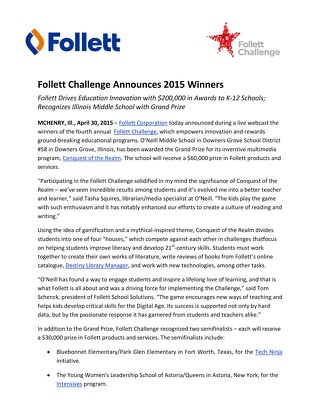 News Release: Follett Challenge Announces 2015 Winners