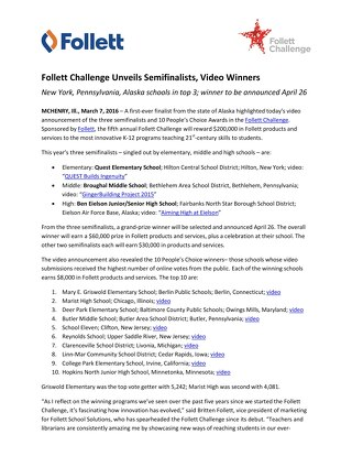 News Release: Follett Challenge Unveils Semifinalists, Video Winners