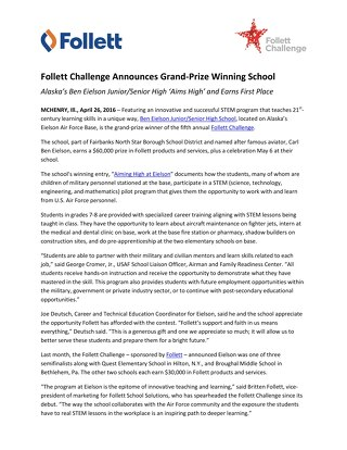 News Release: Follett Challenge Announces Grand-Prize Winning School