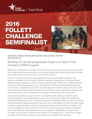 2016 Follett Challenge Middle School Semifinalist: Bethlehem Area School District