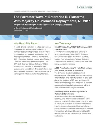 The Forrester Wave Enterprise BI Platforms With Majority On-Premises Deployments, Q3 2017