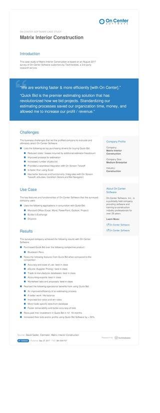 Matrix Interior Construction Case Study