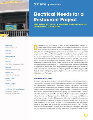 Electrical Needs for a Restaurant Project