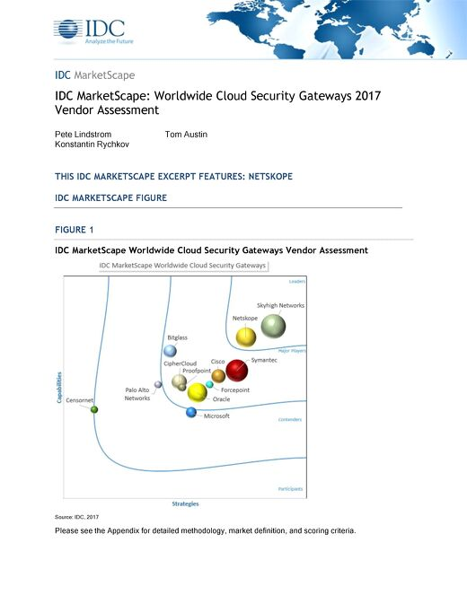 IDC MarketScape:  Worldwide Cloud Security Gateways 2017 Vendor Assessment