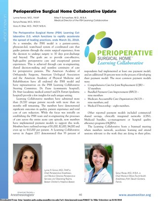 Perioperative Surgical Home Collaborative Update - Jan 2018