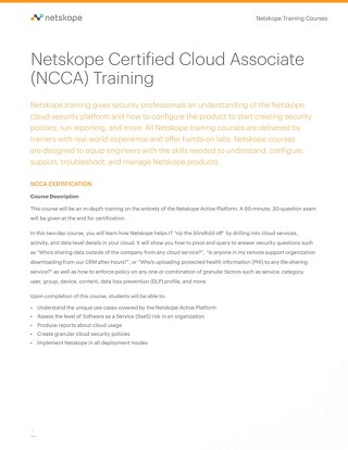 Netskope Certified Cloud Associate (NCCA) Training