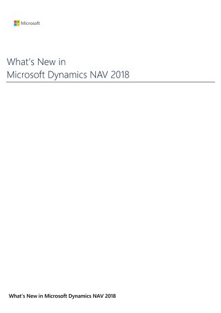 What's New Dynamics NAV 2018 Brochure