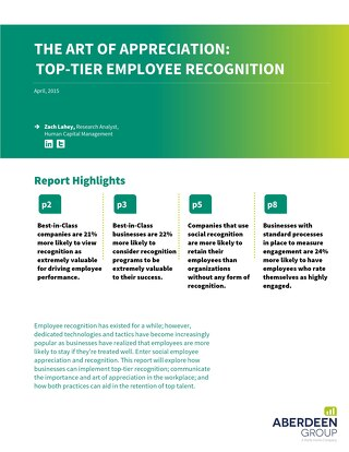 Aberdeen Report: The Art of Appreciation: Top-Tier Employee Recognition