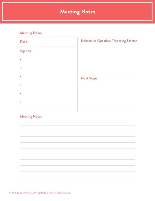 Free Meeting Notes Template