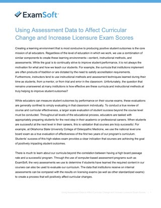 Using Assessment Data to Affect Curricular Change and Increase Licensure Exam Scores