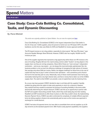 Article: Coca-Cola Bottling Case Study