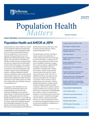 Population Health Matters - Spring 2014 Issue