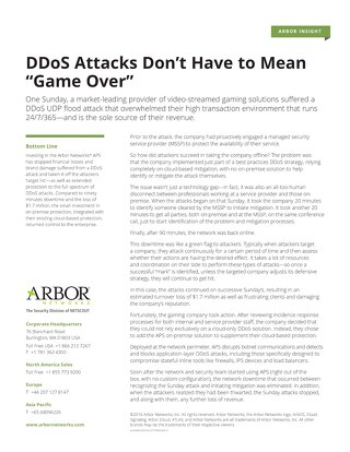 "DDoS Attacks Don't Have to Mean ""Game Over"""