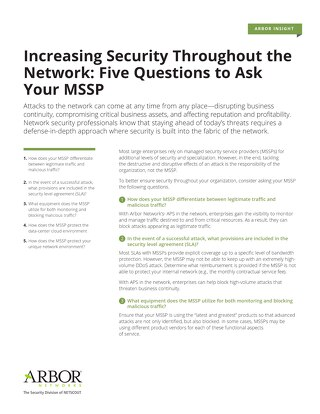 Increasing Security  Throughout the Network: Five Questions to Ask Your MSSP