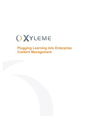 Plugging Learning into Enterprise  Content Management