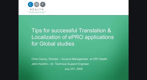 Tips for Successful Translation and Localization of ePRO Applications for Global Studies