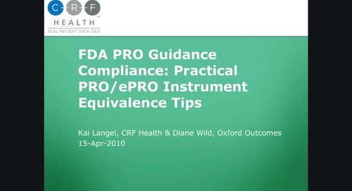 FDA Guidance Compliance: Practical PRO/ePRO Instrument Equivalence Tips