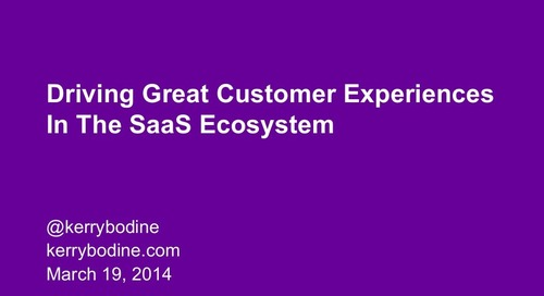 Driving Great Customer Experiences in the SaaS ecosystem
