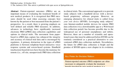 Capturing Patient-Reported Outcome (PRO) Data Electronically: The Past, Present, and Promise of ePRO Measurement in Clinical Trials