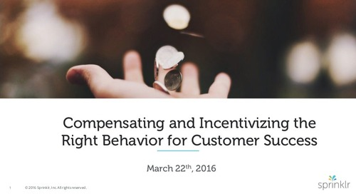 Compensating and Incentivizing the Right Behavior for Customer Success