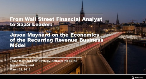From Wall Street Financial Analyst to SaaS Leader: The Economics of the Recurring Revenue Business Model