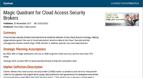 Gartner Magic Quadrant for Cloud Access Security Brokers