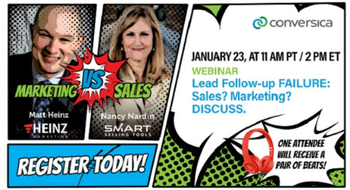 Register today! January 23 at 11 am PT / 2 pm ET:Webinar - Lead Follow-up FAILURE. Sales? Marketing? Discuss.