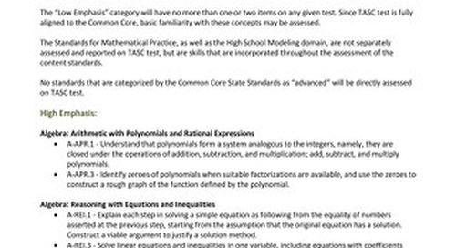 Blueprint Fact Sheet for Mathematics