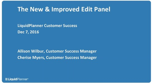 Customer Success Webinar - The New and Improved Edit Panel