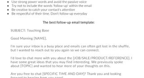 The Best Follow-Up Email Template