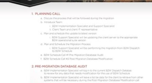 B2W Schedule Migration Process Feb 2018