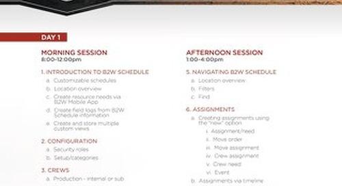 B2W Schedule Training Agenda Feb 2018